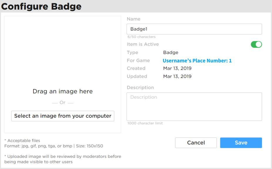 Roblox How To Make A Game Badge How Do I Make Game Badges Roblox Support