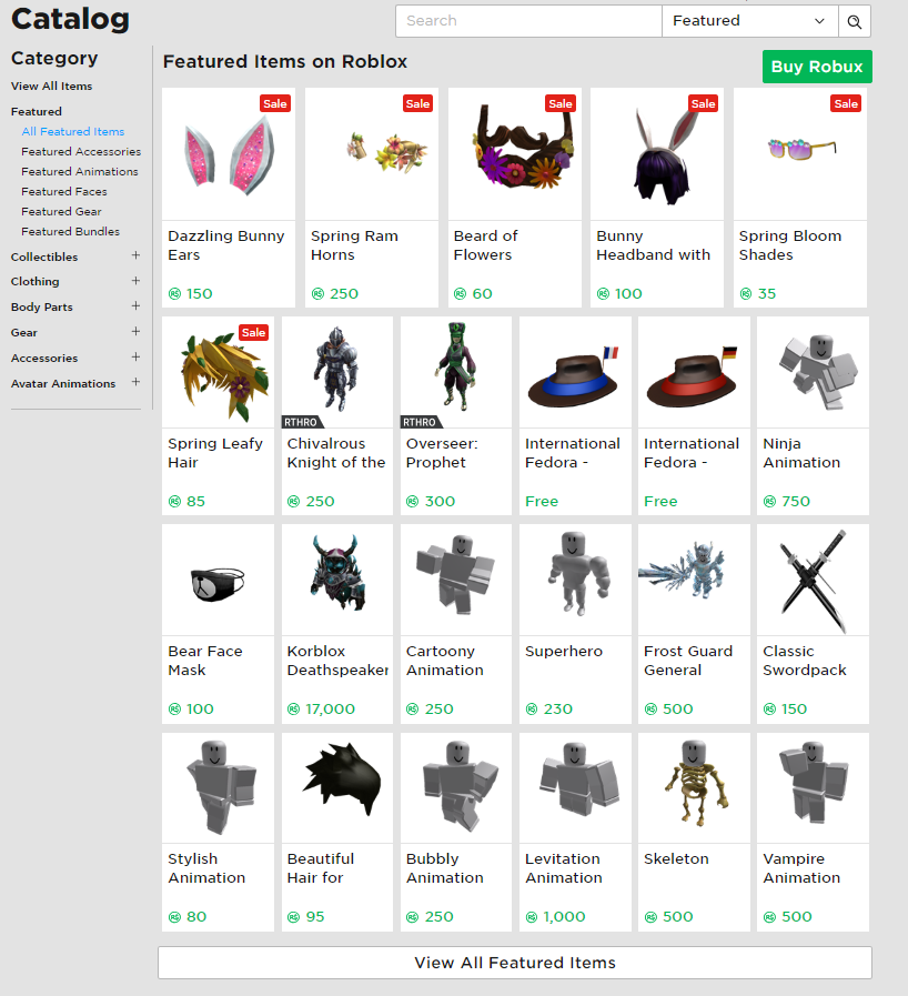 The Catalog Roblox Support