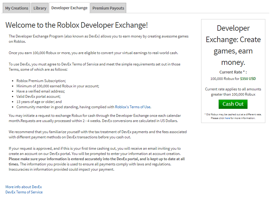 Roblox Hacks Group Funds Developer Exchange Devex Faqs Roblox Support
